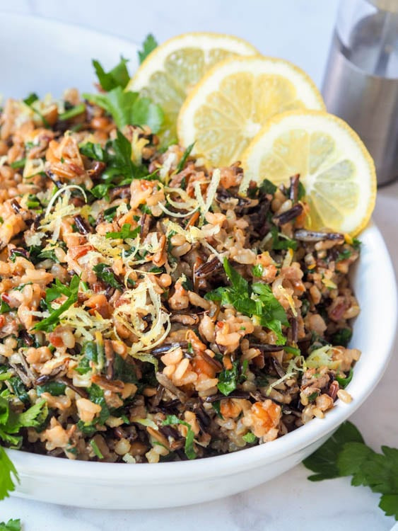 Vegetarian Wild Rice Recipe  Wild Rice Salad with Walnuts Lemons and Parsley GF