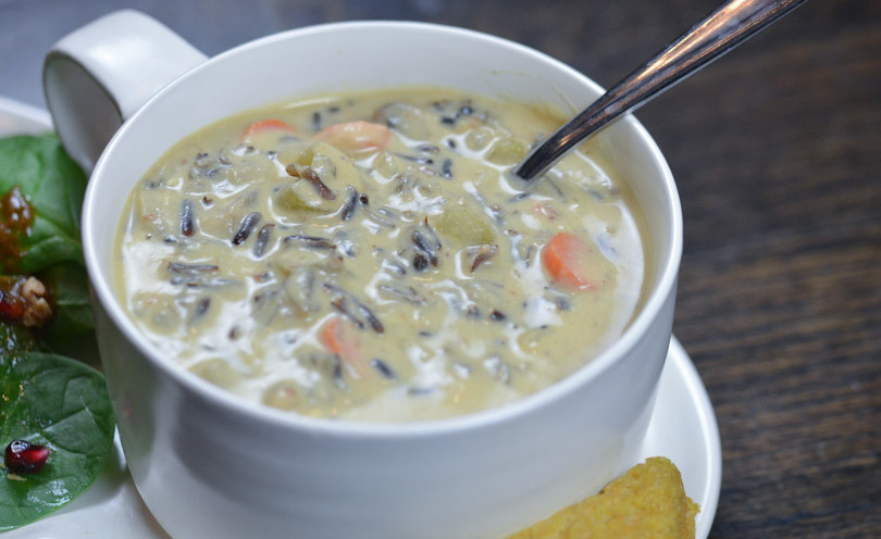 Vegetarian Wild Rice Soup  Creamy Vegan Wild Rice Soup