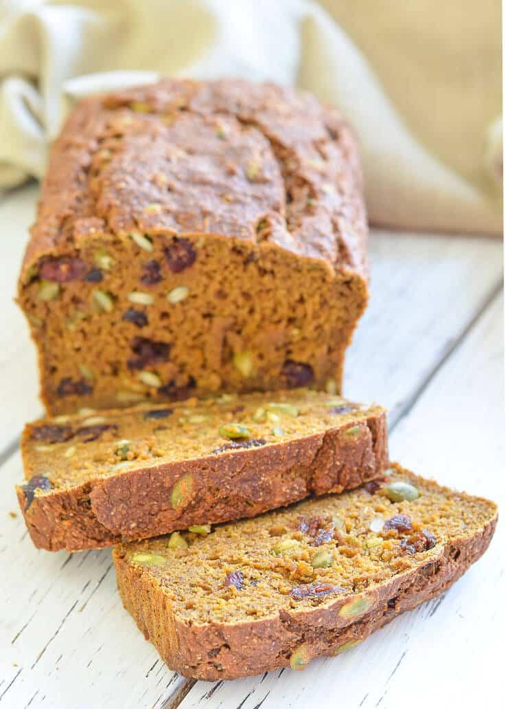 Which Bread Is Vegan  Vegan Pumpkin Bread with Cranberries & Pumpkin Seeds A