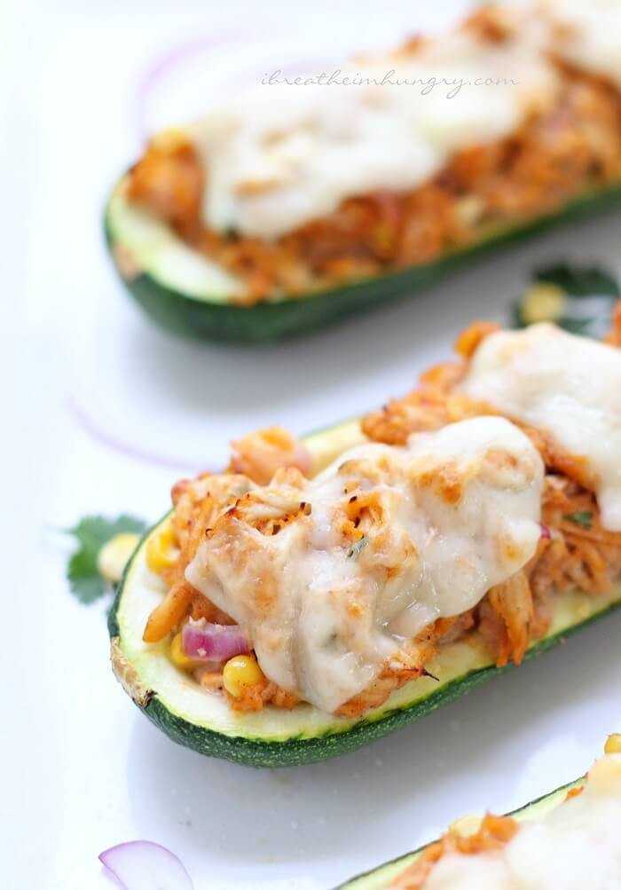 Zucchini Recipes Low Carb  BBQ Chicken Stuffed Zucchini Low Carb