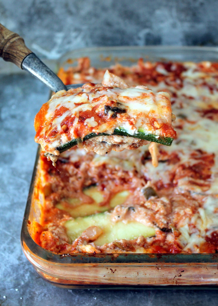 Zucchini Recipes Low Carb  Low Carb Zucchini Lasagna with Spicy Turkey Meat Sauce