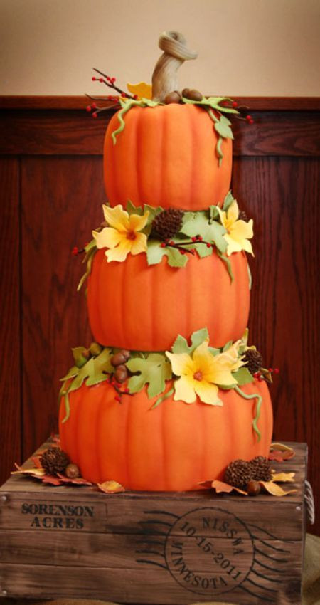 25 Fabulous Autumn Fall Cupcakes  25 best ideas about Pumpkin wedding cakes on Pinterest