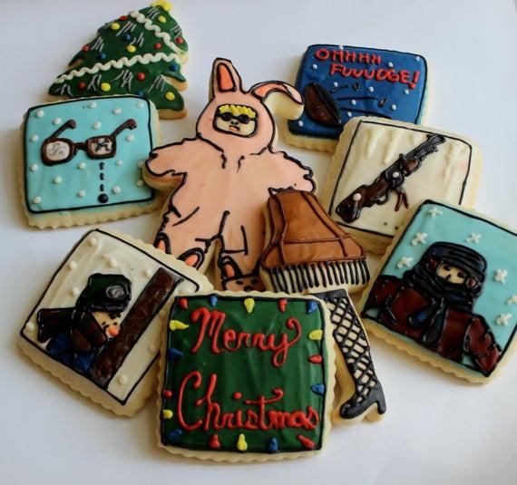 A Christmas Story Cookies  Christmas Tale Bunny Pajamas Leg Lamp Sugar Cookies with