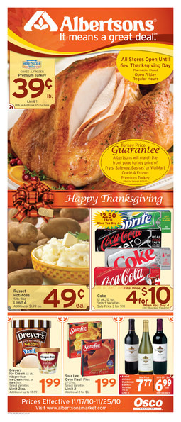 Albertsons Thanksgiving Dinners  Alicia s Deals in AZ The Thanksgiving Grocery Ads This Week