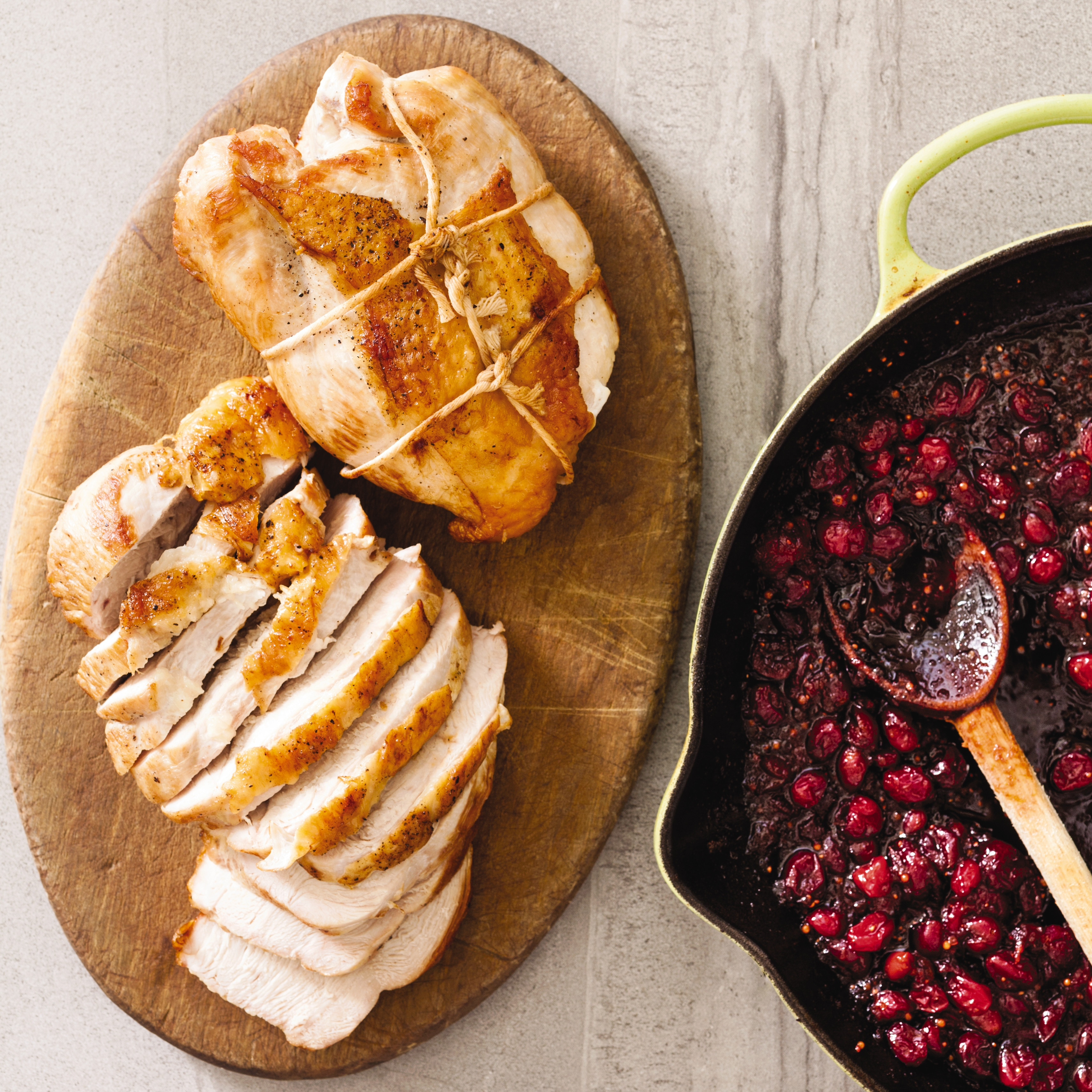 Americas Test Kitchen Thanksgiving Turkey  Cast Iron Boneless Turkey Breasts with Cranberry Chutney