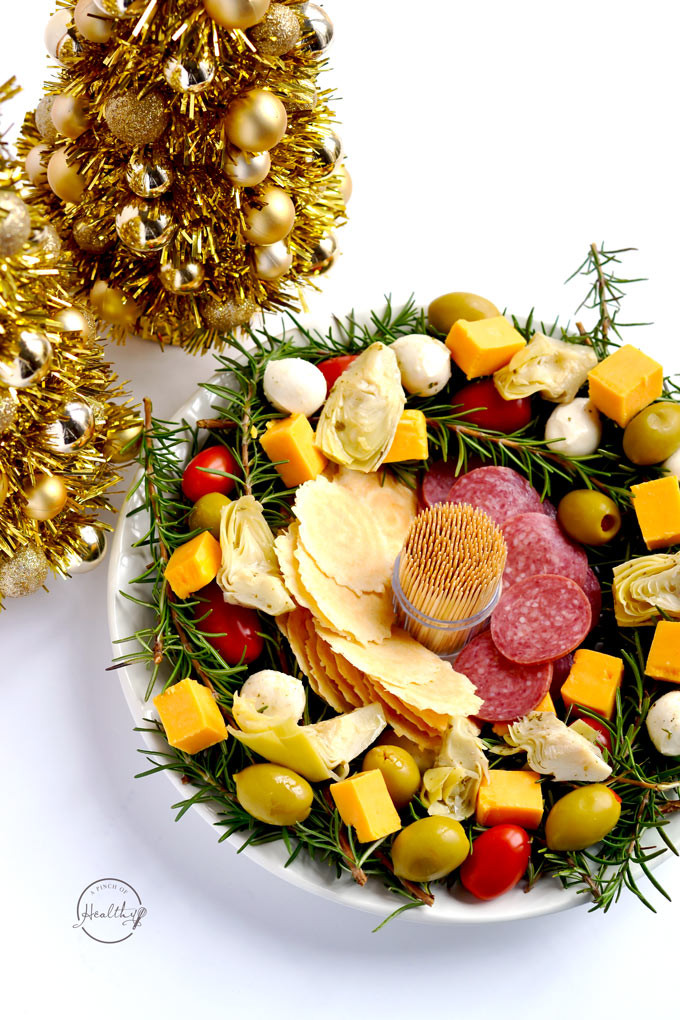 Antipasto Christmas Tree  Antipasto Christmas Wreath Easy Appetizer A Pinch of
