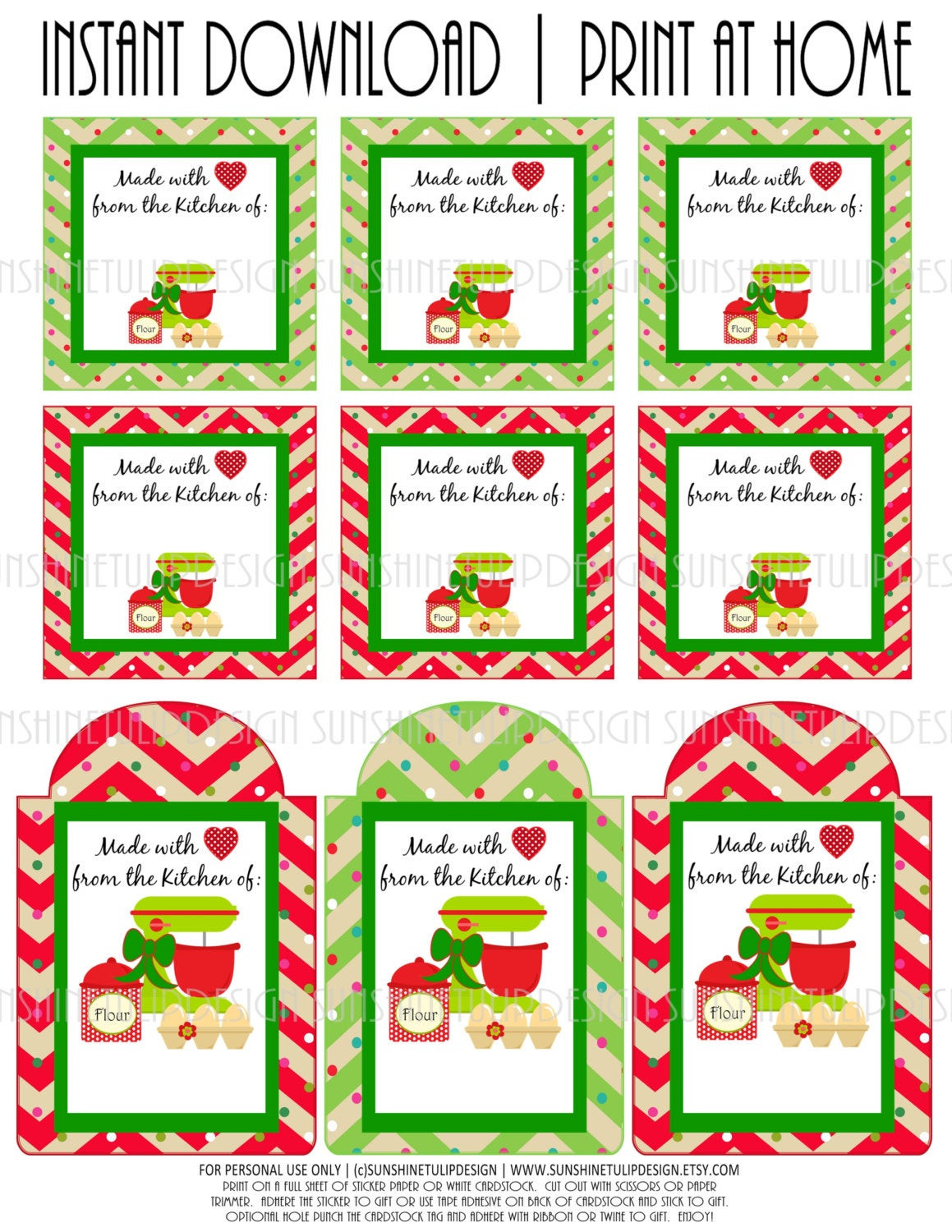 Baking Goods For Christmas Gifts  Printable Baked Goods Christmas Gift Tags by