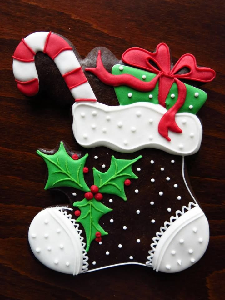 Beautiful Christmas Cookies  Beautiful Christmas stocking cookie