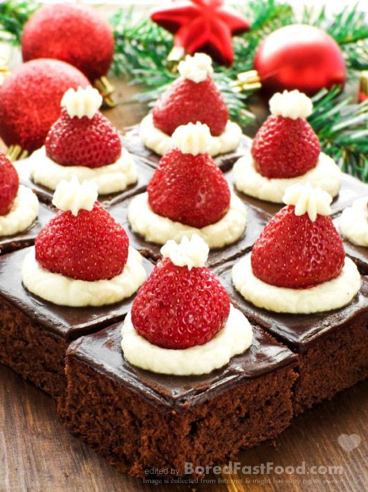 Best Christmas Party Desserts  Santa Hat Mini Brownies – Healthy Christmas Party Dinner