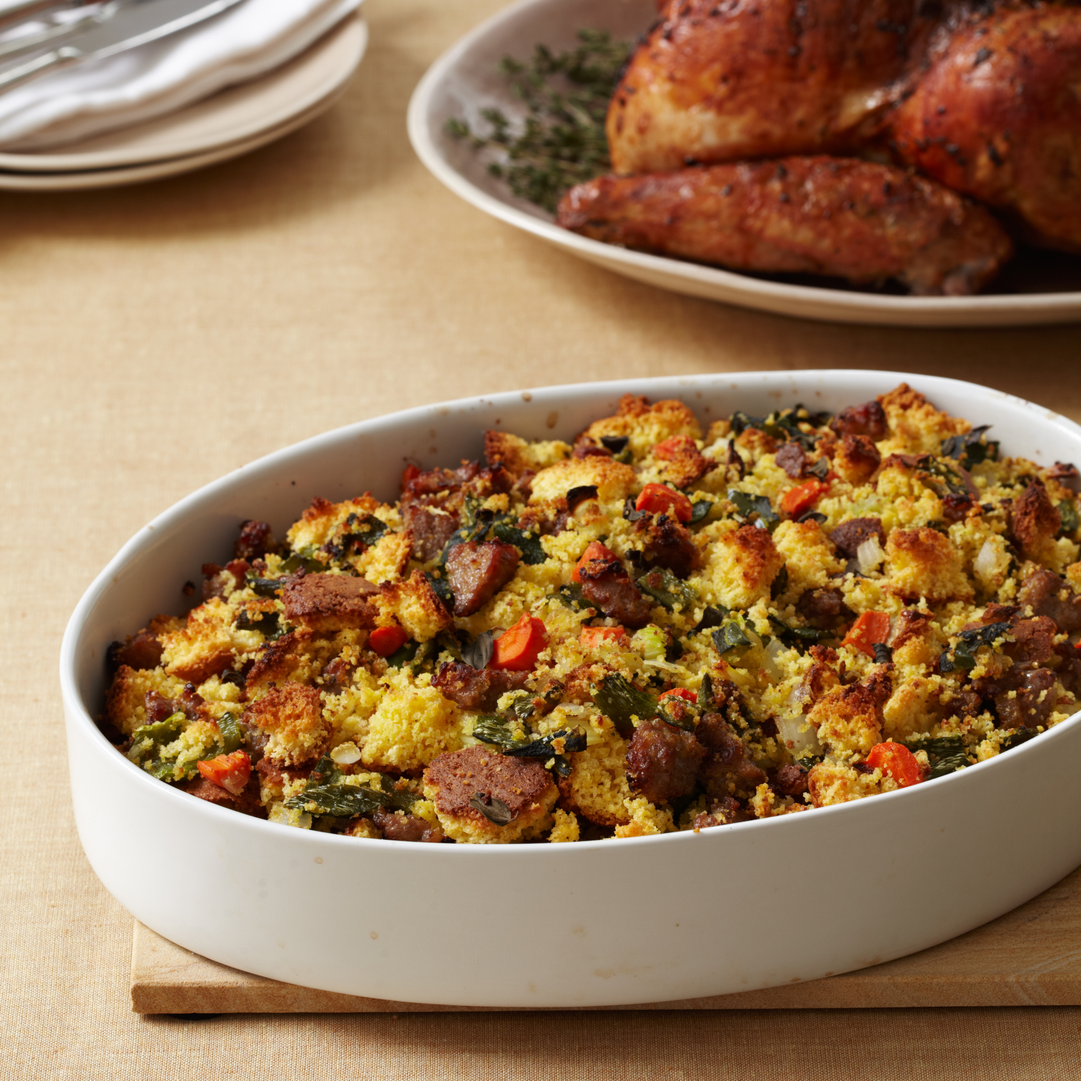 Bread Dressing For Thanksgiving  Corn Bread Stuffing with Country Sausage Recipe Robert