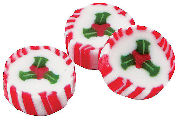 Bulk Individually Wrapped Christmas Candy  Unique peppermint candy with holly design for Christmas