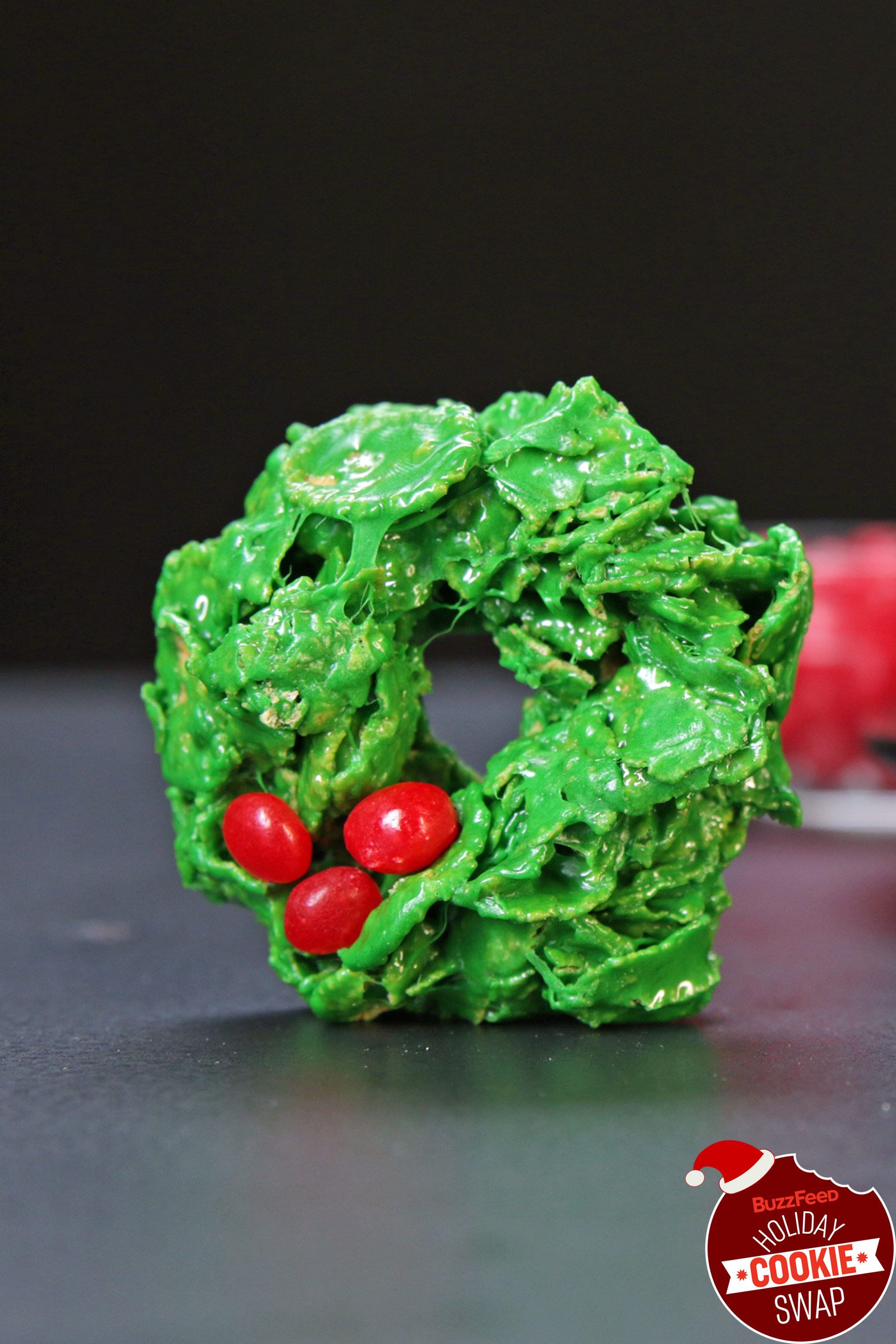 Buzzfeed Christmas Cookies  Corn Flake Holly Wreaths