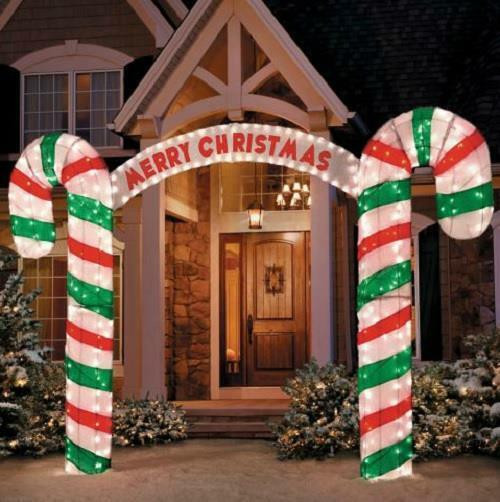 "Candy Cane Christmas Lights Outdoor  New 10"" W Lighted Merry Christmas Candy Cane Archway"