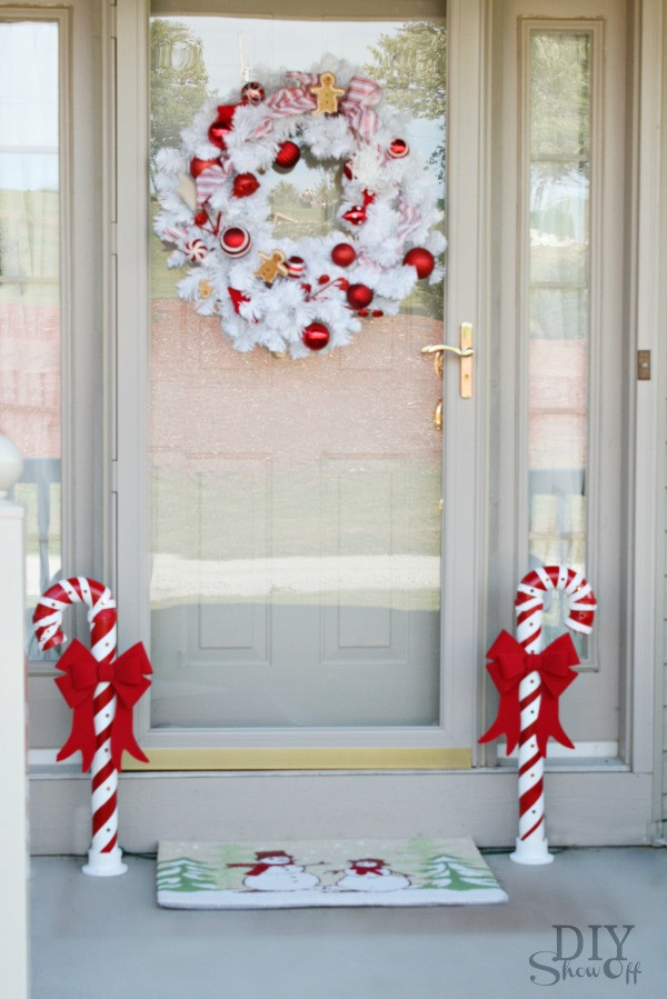 Candy Cane Christmas Lights Outdoor  Lighted PVC Candy Canes DIY Christmas Home Decor DIY