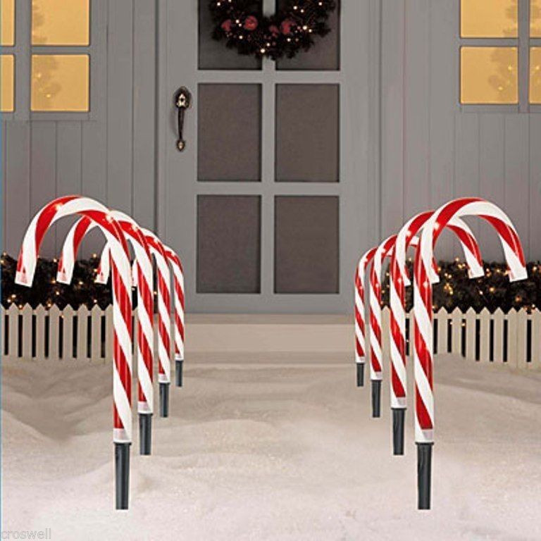 "Candy Cane Christmas Lights Outdoor  8 PC CHRISTMAS LIGHTED 10"" TALL CANDY CANES PATH LIGHTS"