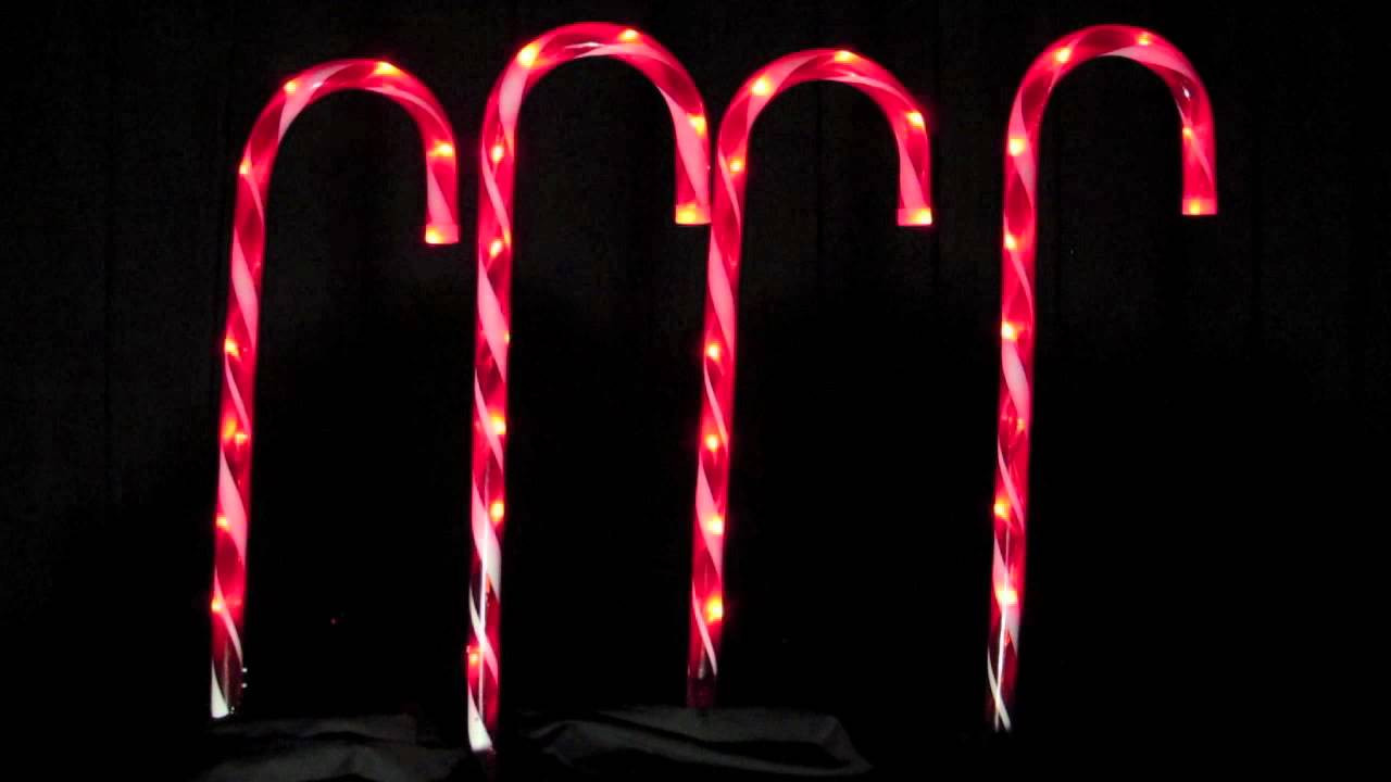 Candy Cane Christmas Lights Outdoor  Stake Lights 4 LED Candy Cane Pathway Lighting