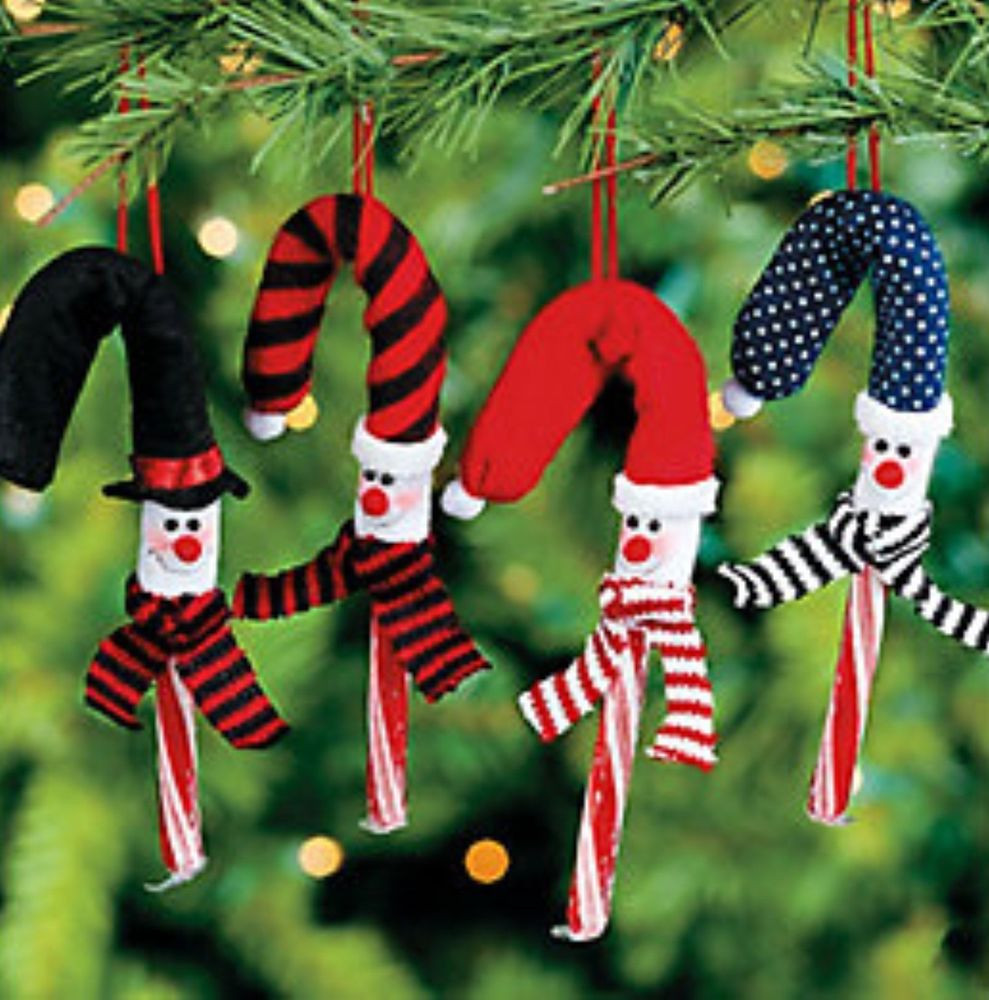 Candy Cane Christmas Ornaments  24 Snowman Candy Cane Covers Tree Ornaments Christmas