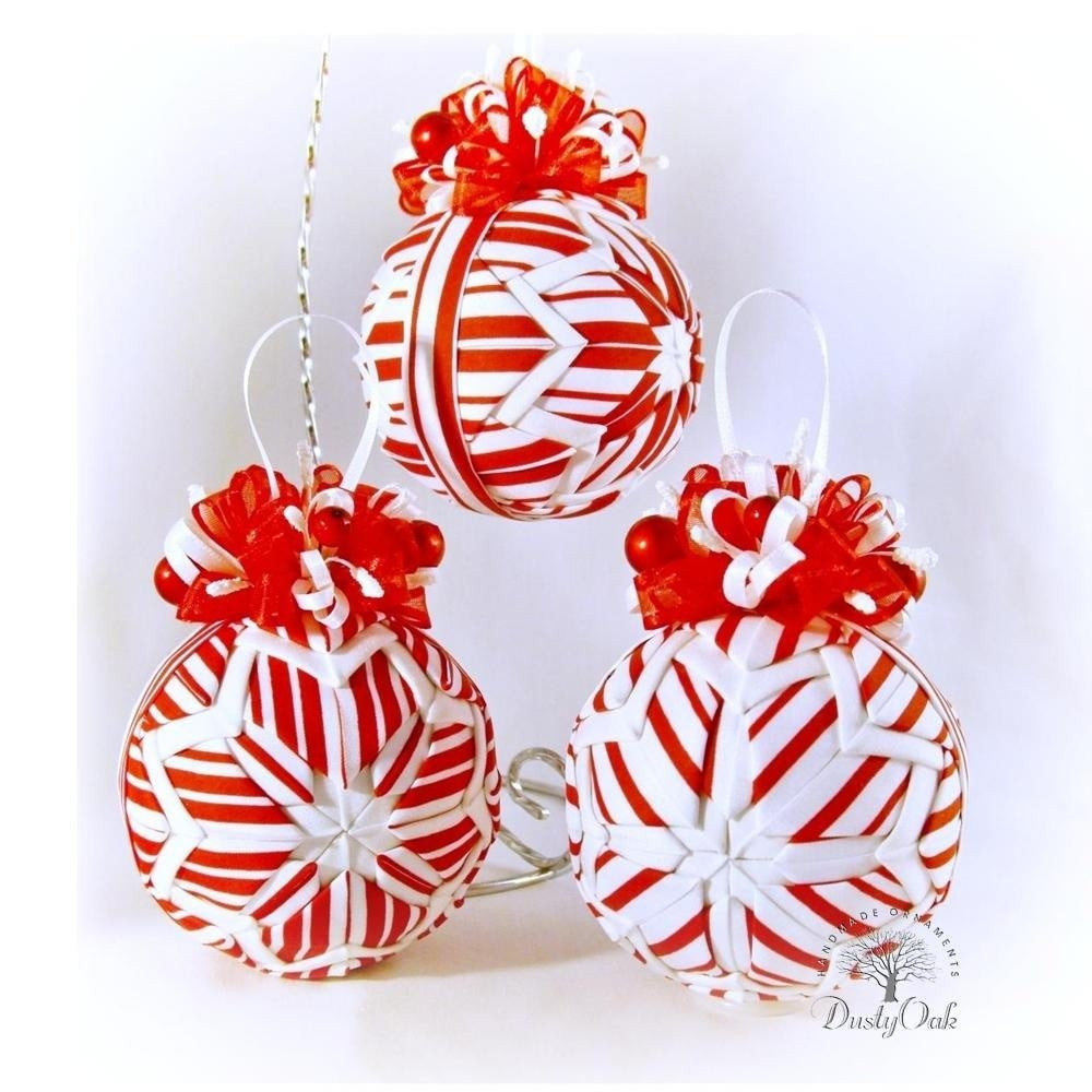 Candy Cane Christmas Ornaments  candy cane stripes peppermint Christmas ornaments by DustyOak