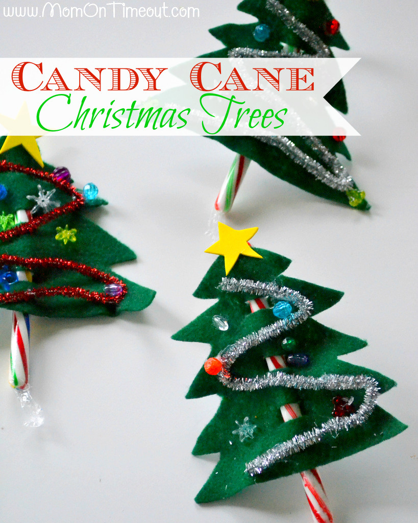 Candy Cane Christmas Ornaments  Candy Cane Christmas Trees Craft Mom Timeout