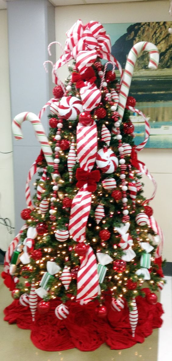 Candy Cane Christmas Tree Decorating Ideas  Candy Cane Christmas tree Keeping Christmas