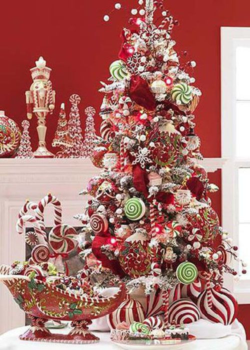 Candy Cane Christmas Tree Decorating Ideas  Themed Christmas Trees on Pinterest
