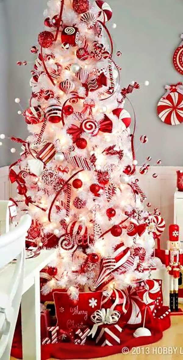 Candy Cane Christmas Tree Decorating Ideas  Candy Cane Colored Christmas Tree s and