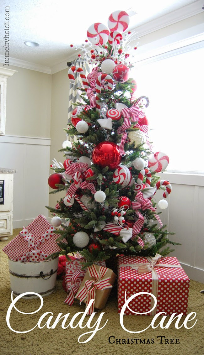 Candy Cane Christmas Tree Decorating Ideas  Home By Heidi Candy Cane Christmas Tree