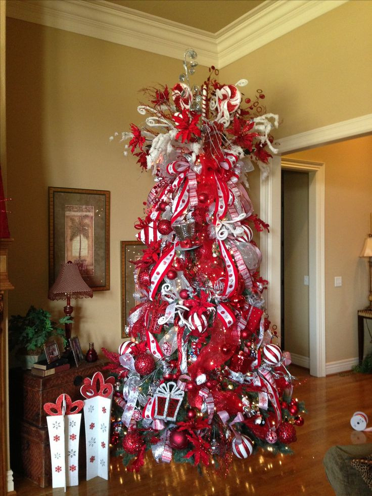 Candy Cane Christmas Tree Decorating Ideas  Red and White Candy Cane theme Christmas tree