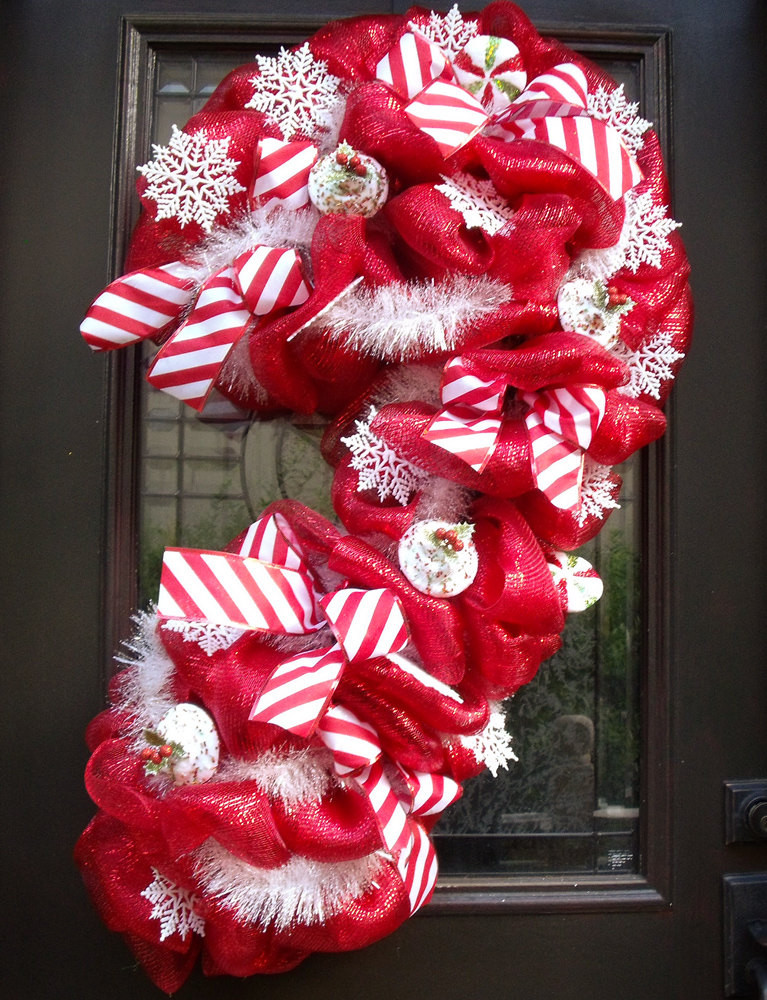 Candy Cane Christmas Wreath  Christmas Deco Mesh Wreath Candy Cane Wreath Christmas Mesh