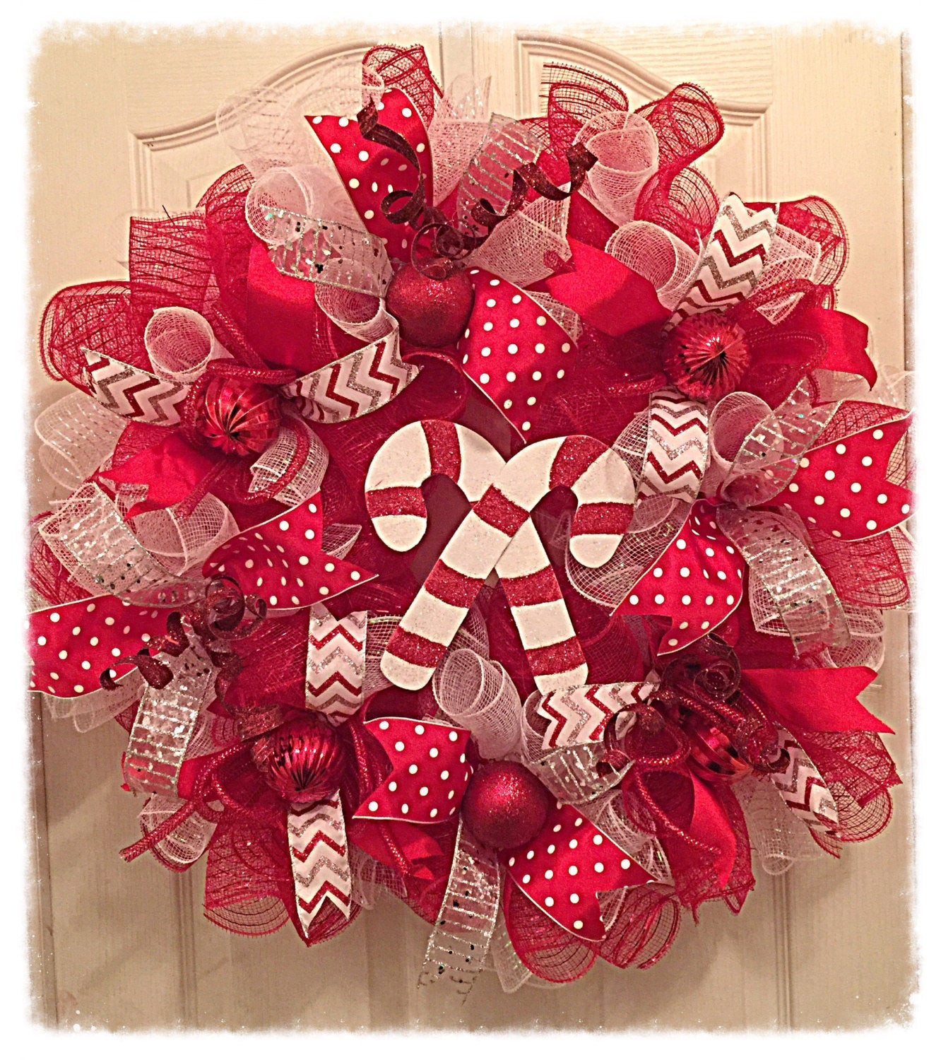 Candy Cane Christmas Wreath  Candy Cane Deco Mesh Wreath Christmas Wreath Red Silver