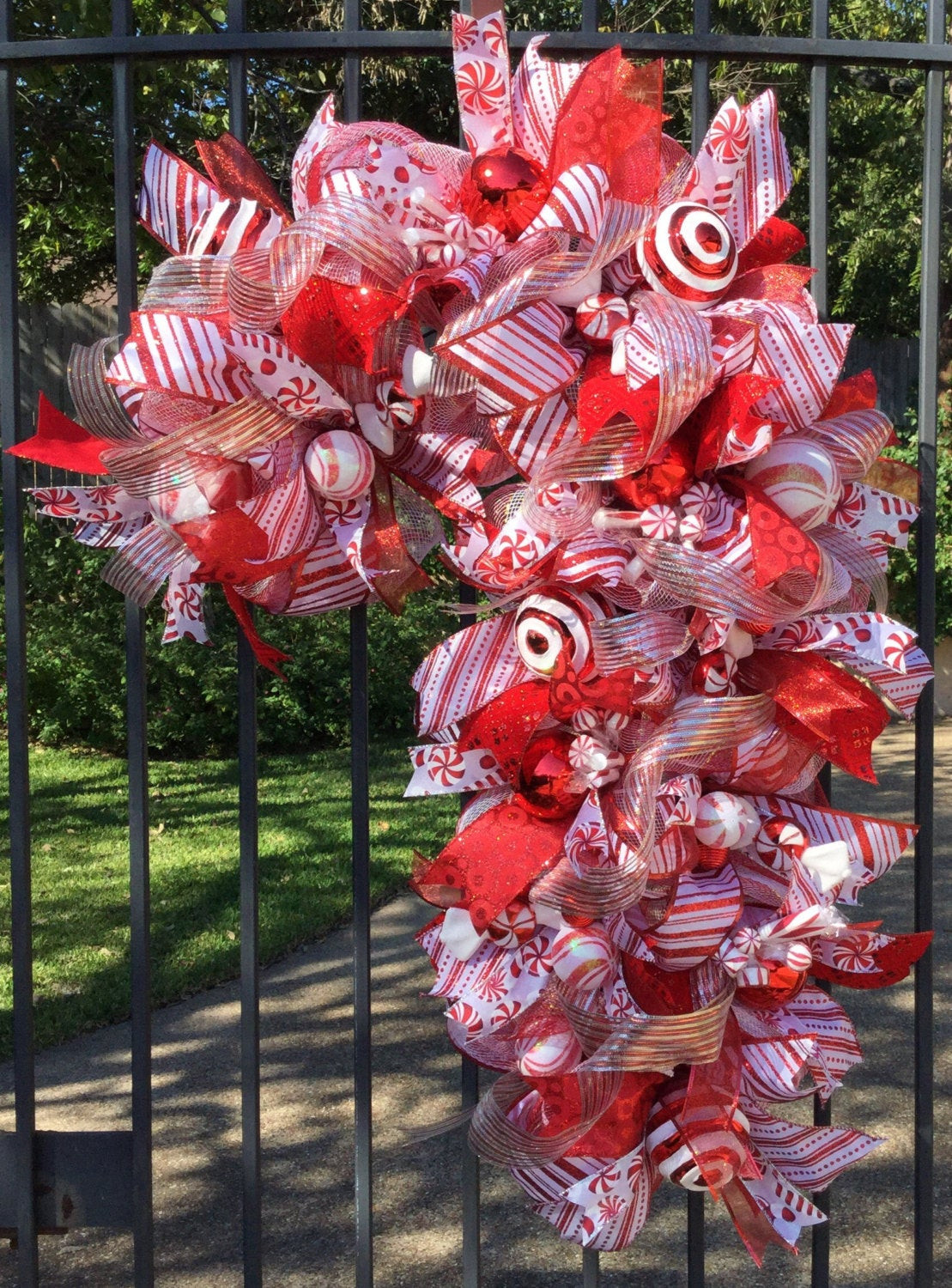 Candy Cane Christmas Wreath  Candy Cane Holiday Deco Mesh Wreath Christmas Wreath Mesh