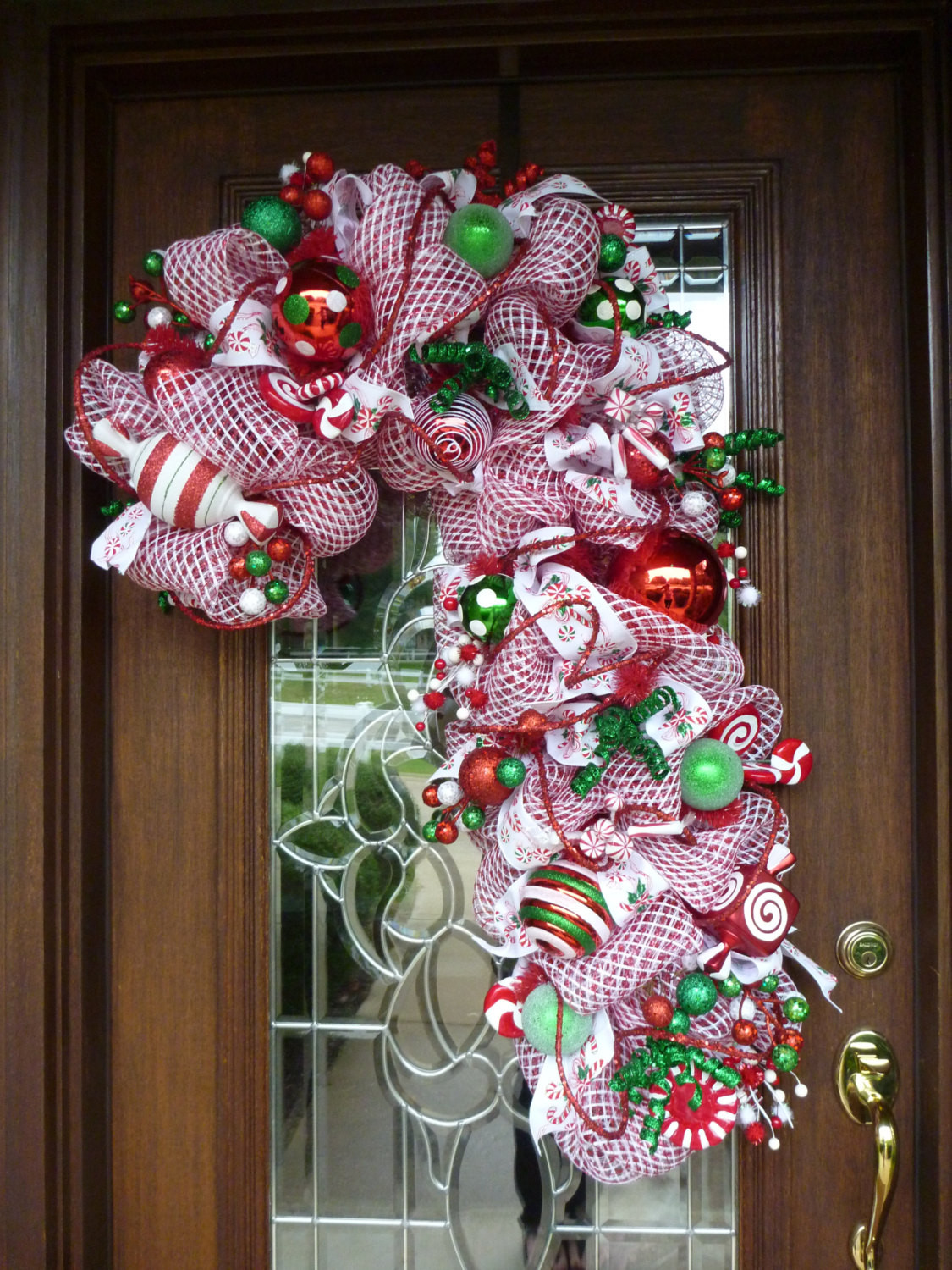 Candy Cane Christmas Wreath  Deco Mesh CANDY CANE CHRISTMAS Wreath