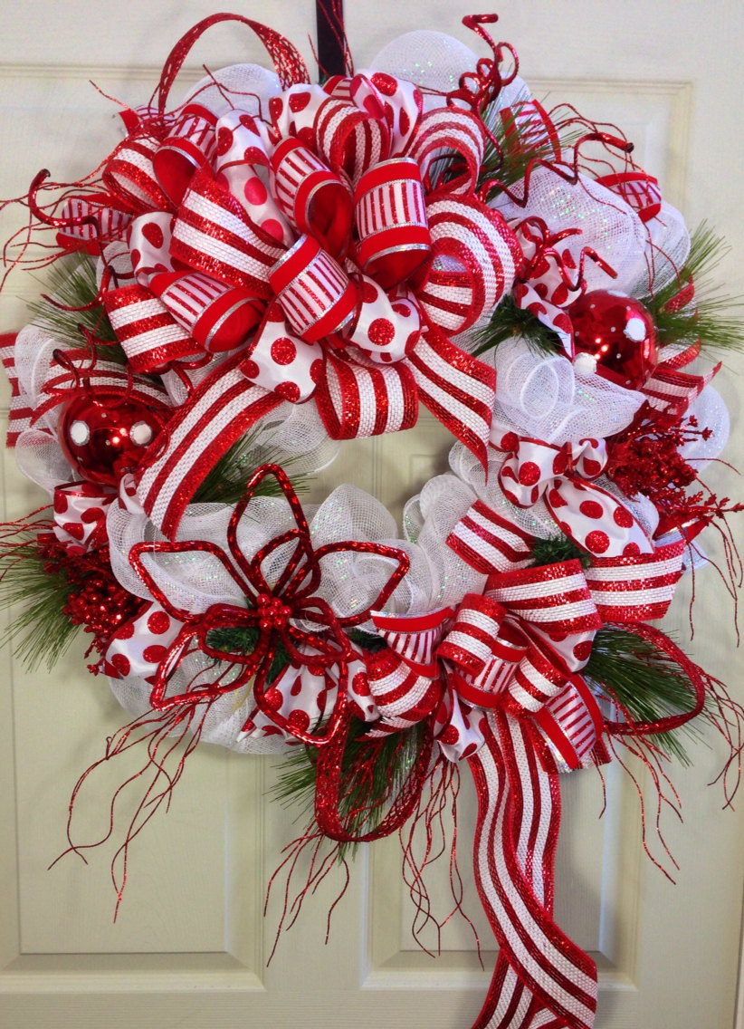 Candy Cane Christmas Wreath  Candy Cane Mesh Christmas Wreath