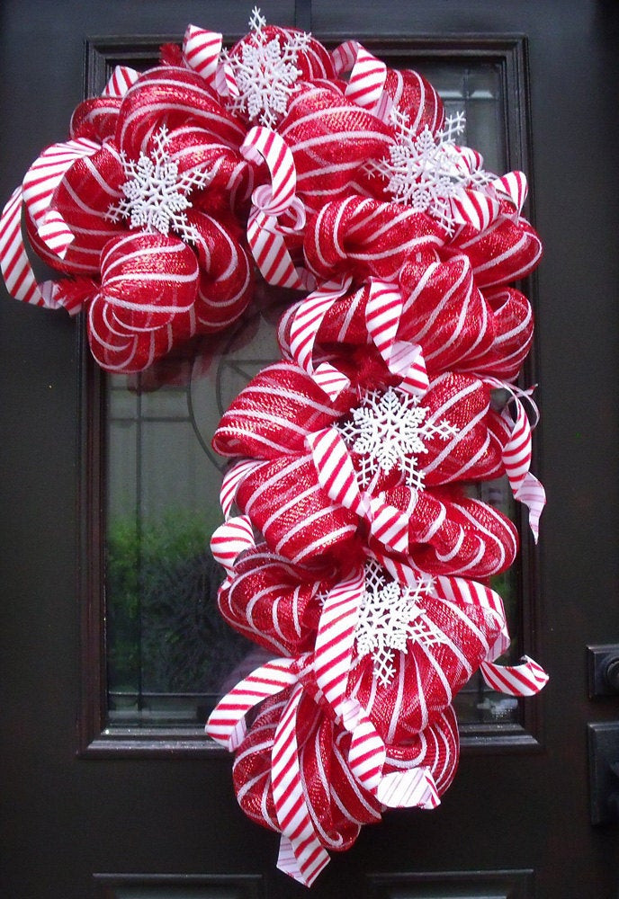 Candy Cane Christmas Wreath  Deco Mesh Candy Cane Wreath Christmas Mesh Wreaths Christmas