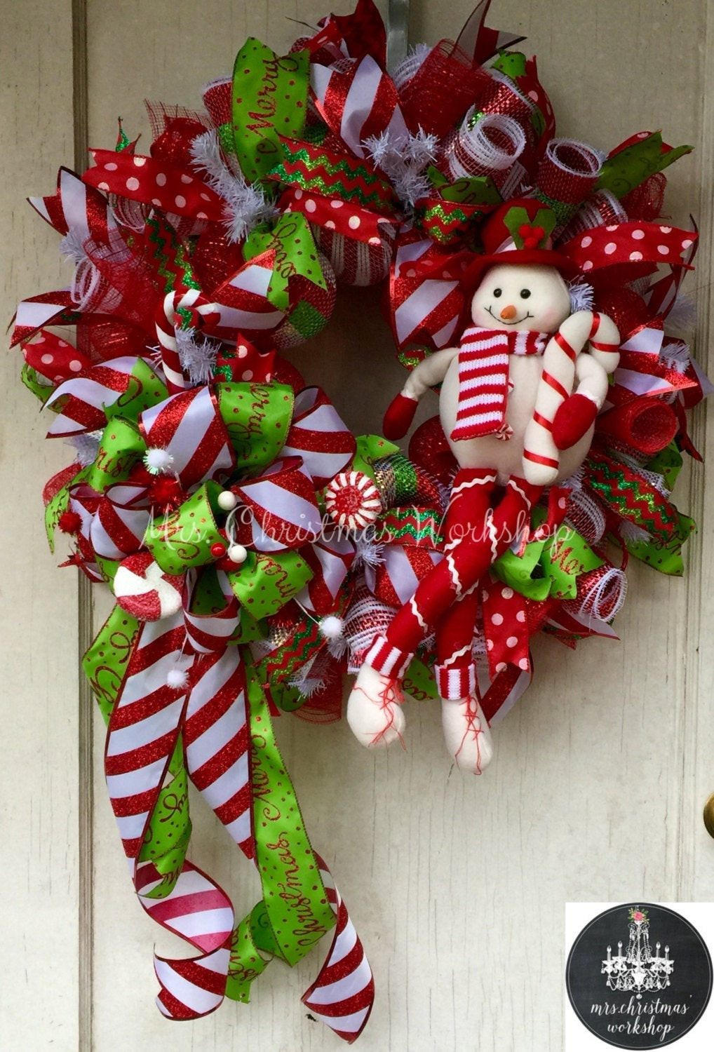 Candy Cane Christmas Wreath  Candy cane Christmas wreath deco mesh wreath snowman candy