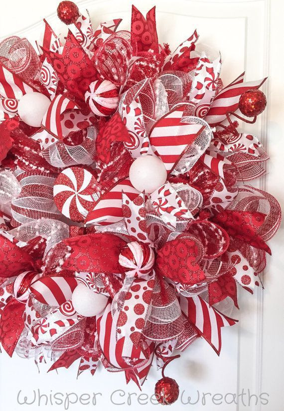 Candy Cane Christmas Wreath  Candy Cane Wreath Deco Mesh Wreath Christmas Wreath