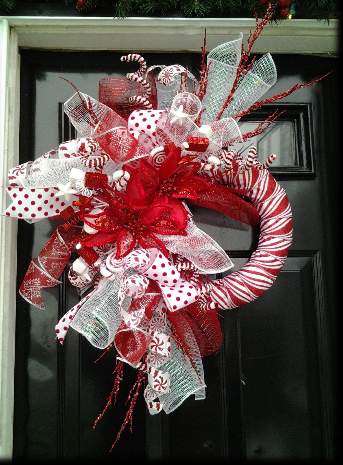 Candy Cane Christmas Wreath  Christmas Wreath Candy Cane Wreath Peppermint Wreath