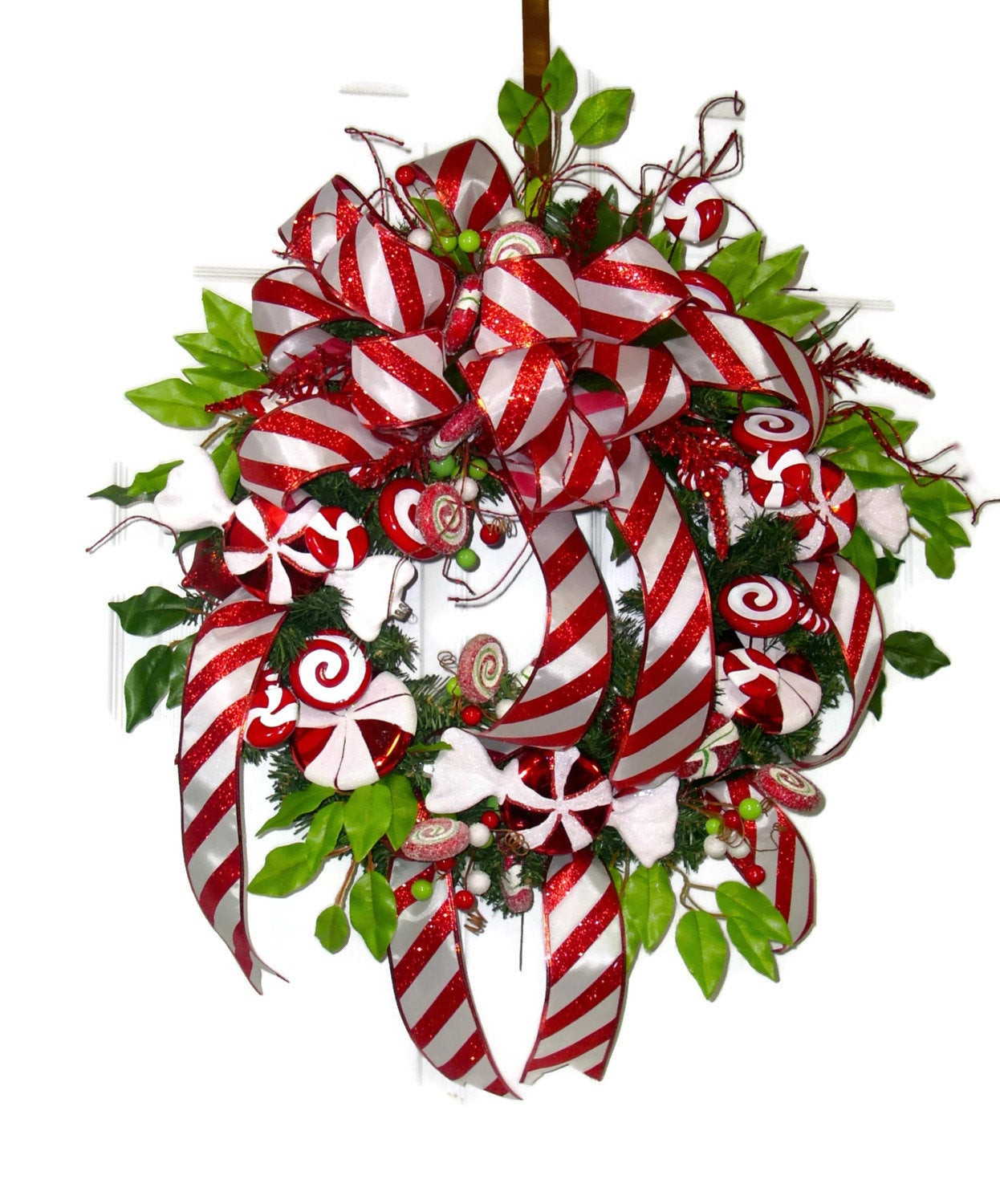 Candy Cane Christmas Wreath  Candy Cane Christmas Wreath Red and White Christmas Wreath