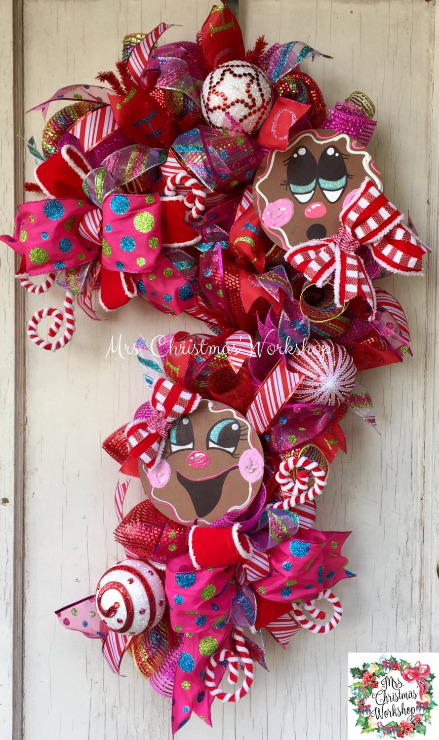 Candy Cane Christmas Wreath  Christmas wreath candy cane wreath gingerbread wreath deco