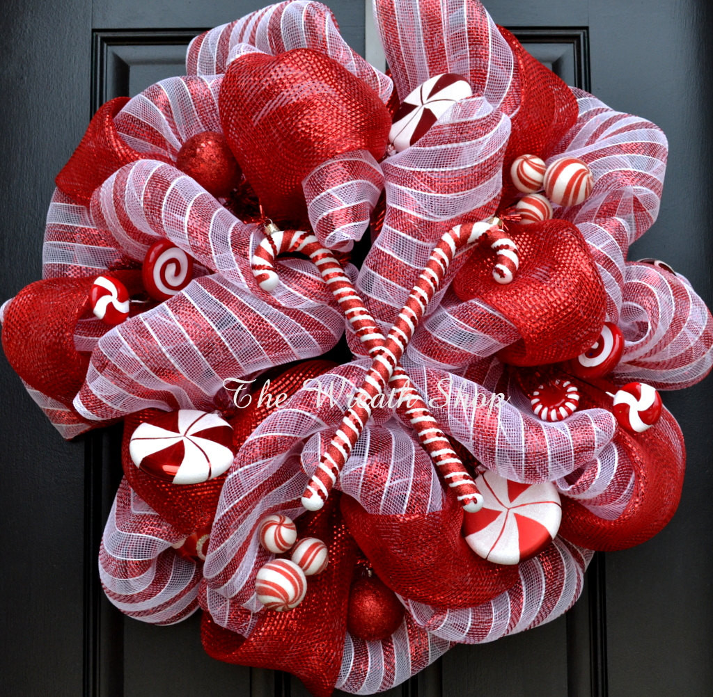 Candy Cane Christmas Wreath  Candy Cane Christmas Wreath Deco Mesh Christmas Wreath