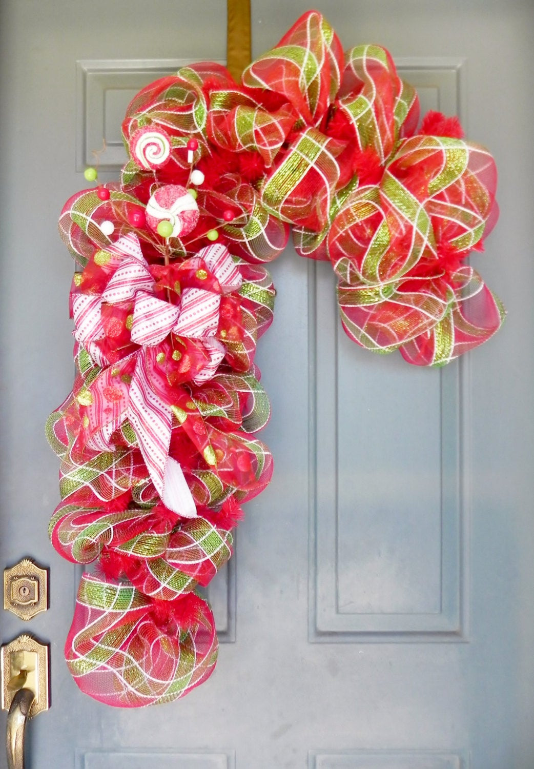 Candy Cane Christmas Wreath  Christmas Wreath Candy Cane Wreath Deco Mesh Wreath