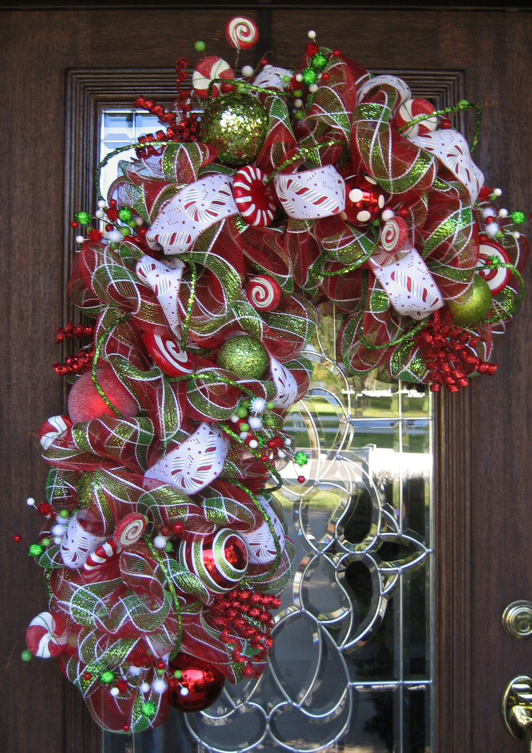 Candy Cane Christmas Wreath  Deco Mesh PLAID CANDY CANE Wreath