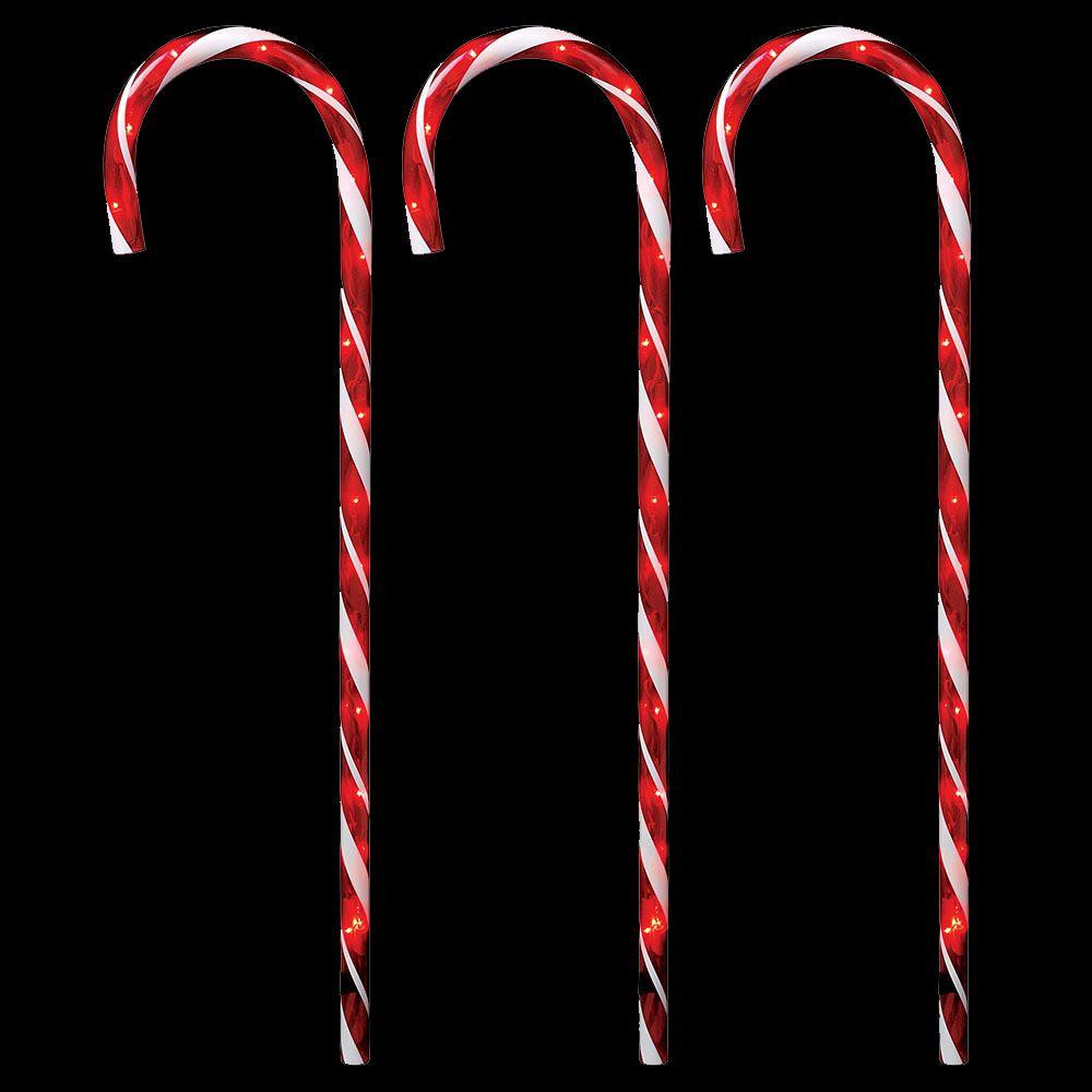 Candy Cane Led Christmas Lights  Home Accents Holiday 27 in Lighted Candy Canes Set of 3