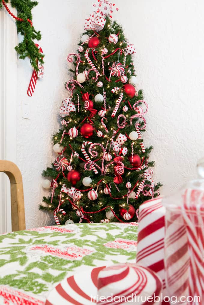 Candy Canes On Christmas Tree  Candy Cane Space Saving Christmas Tree Tried & True