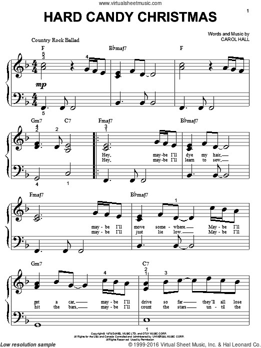 Candy Christmas Songs  Parton Hard Candy Christmas sheet music for piano solo