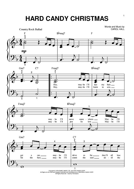 Candy Christmas Songs  Hard Candy Christmas Sheet Music Music for Piano and