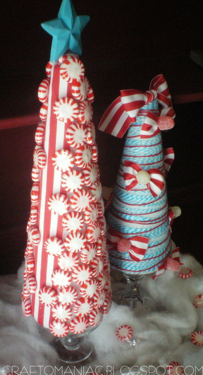 Candy Christmas Tree Craft  Billie s life Christmas Craft Whimsical Candy Ribbon Trees