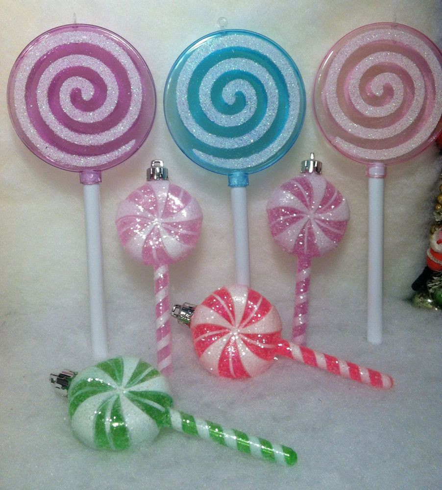 Candy Christmas Tree Ornaments  7 Lollipop Candy Christmas Tree Ornaments Pink Purple