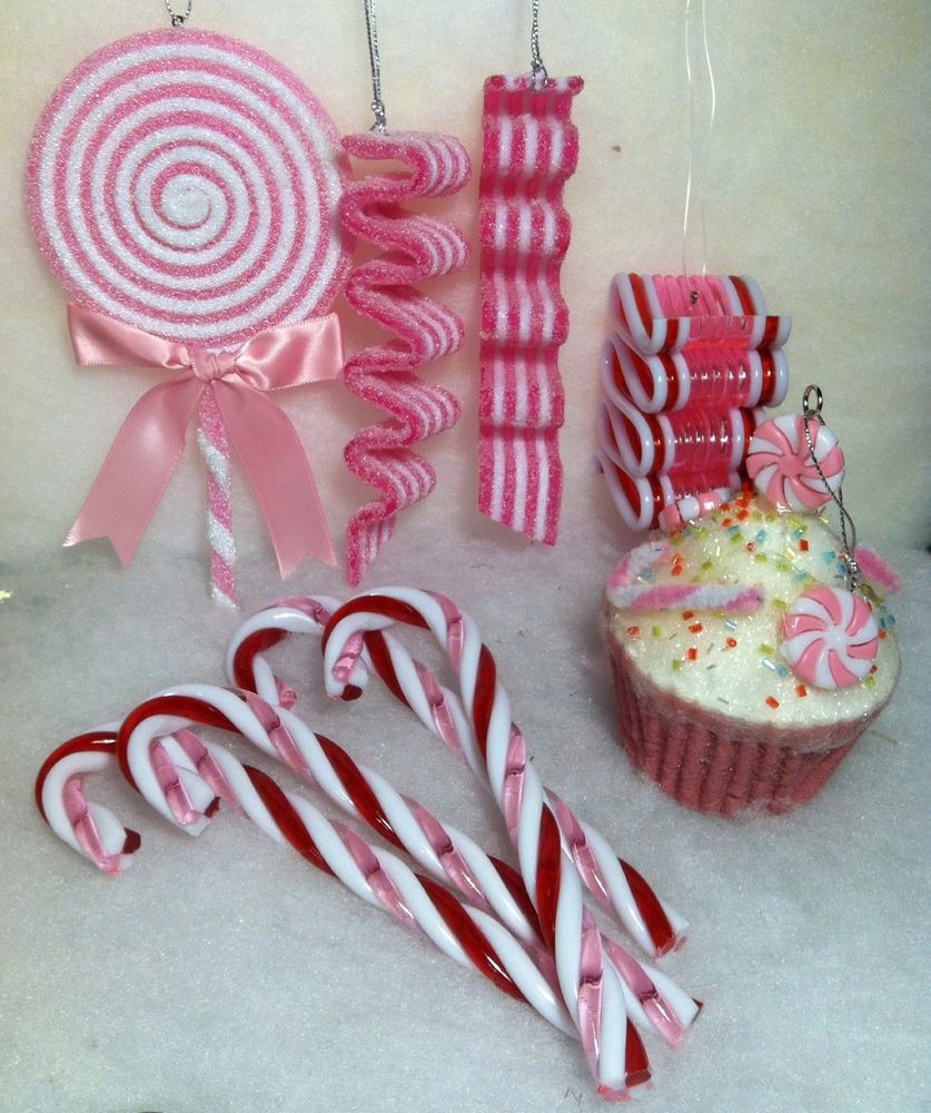 Candy Christmas Tree Ornaments  9 Pc Mix Pink peppermint Christmas Tree Ornaments Lollipop