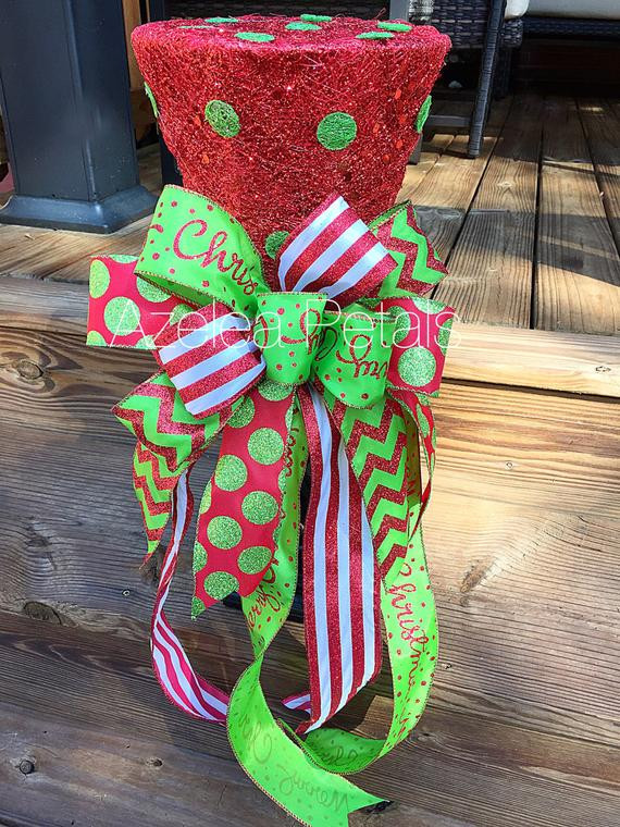 Candy Christmas Tree Topper  Christmas Top Hat Tree Topper Candy Red and Lime Green Tree